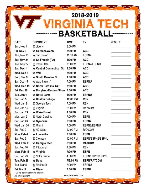 Printable 2018 2019 Virginia Tech Hokies Basketball Schedule