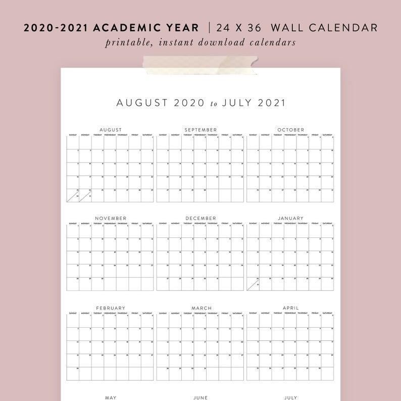 Printable 2020 2021 Academic Wall Calendar 24×36 Poster