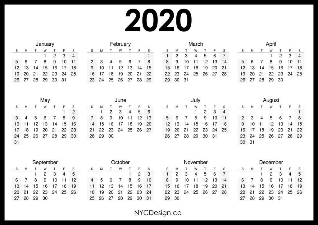 Printable 2020 Calendars Nycdesign Co | Calendars