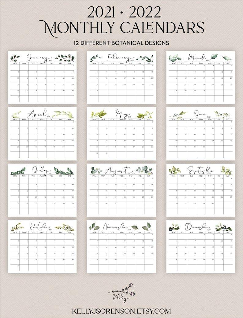 Printable 2021 2022 Landscape Editable Calendar With | Etsy