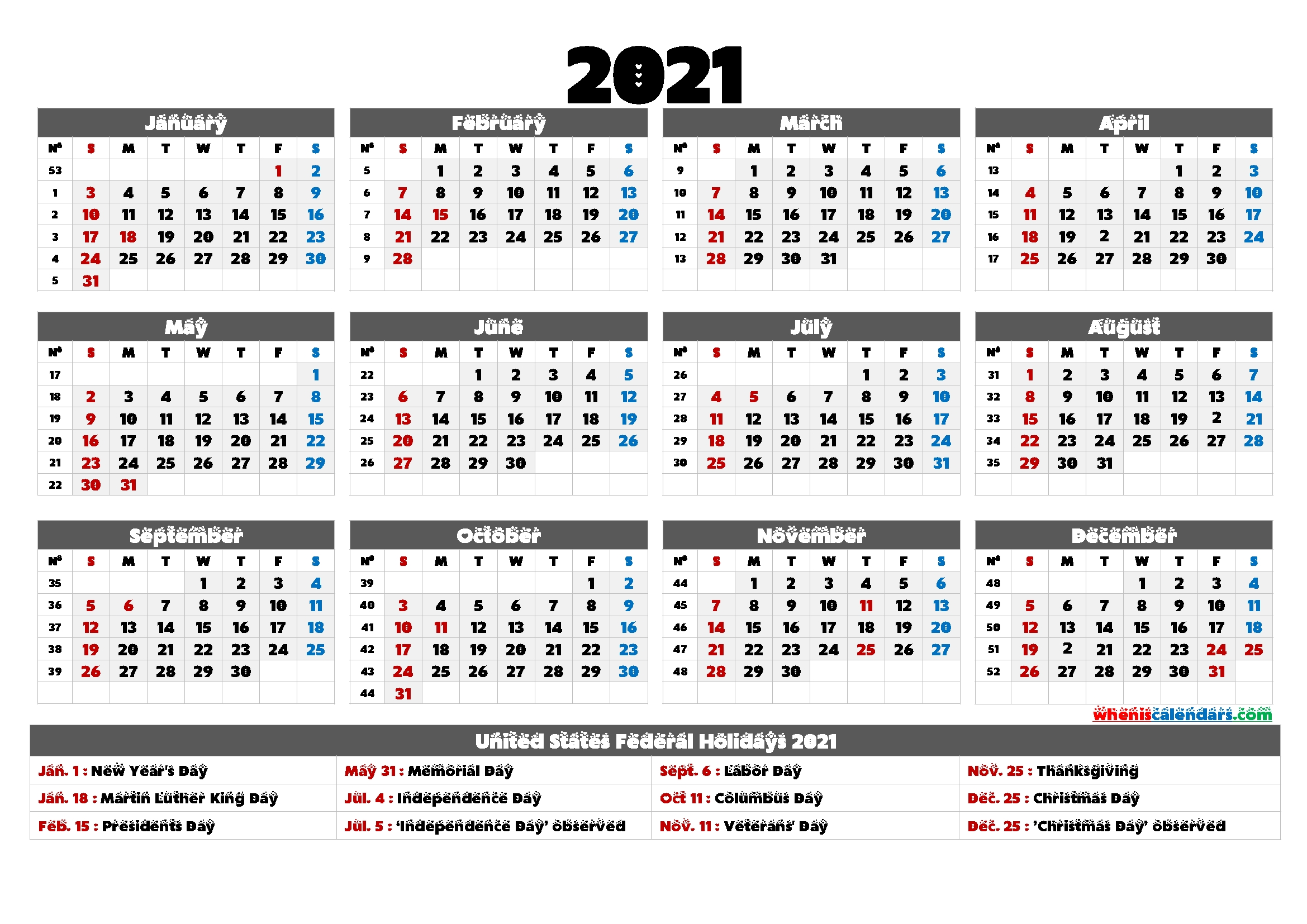 printable 2021 calendar one page 6 templates free