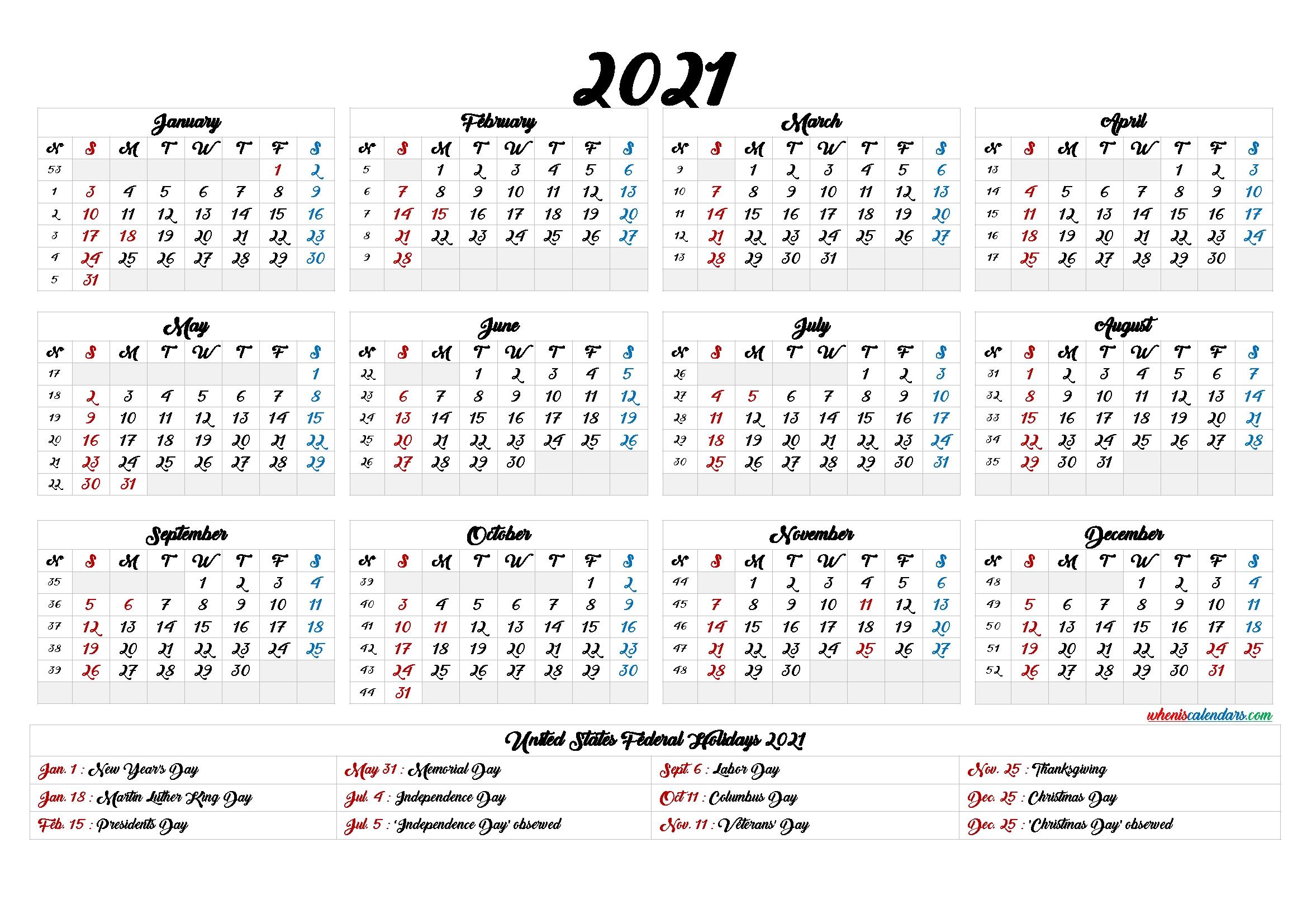 printable 2021 calendar one page 9 templates