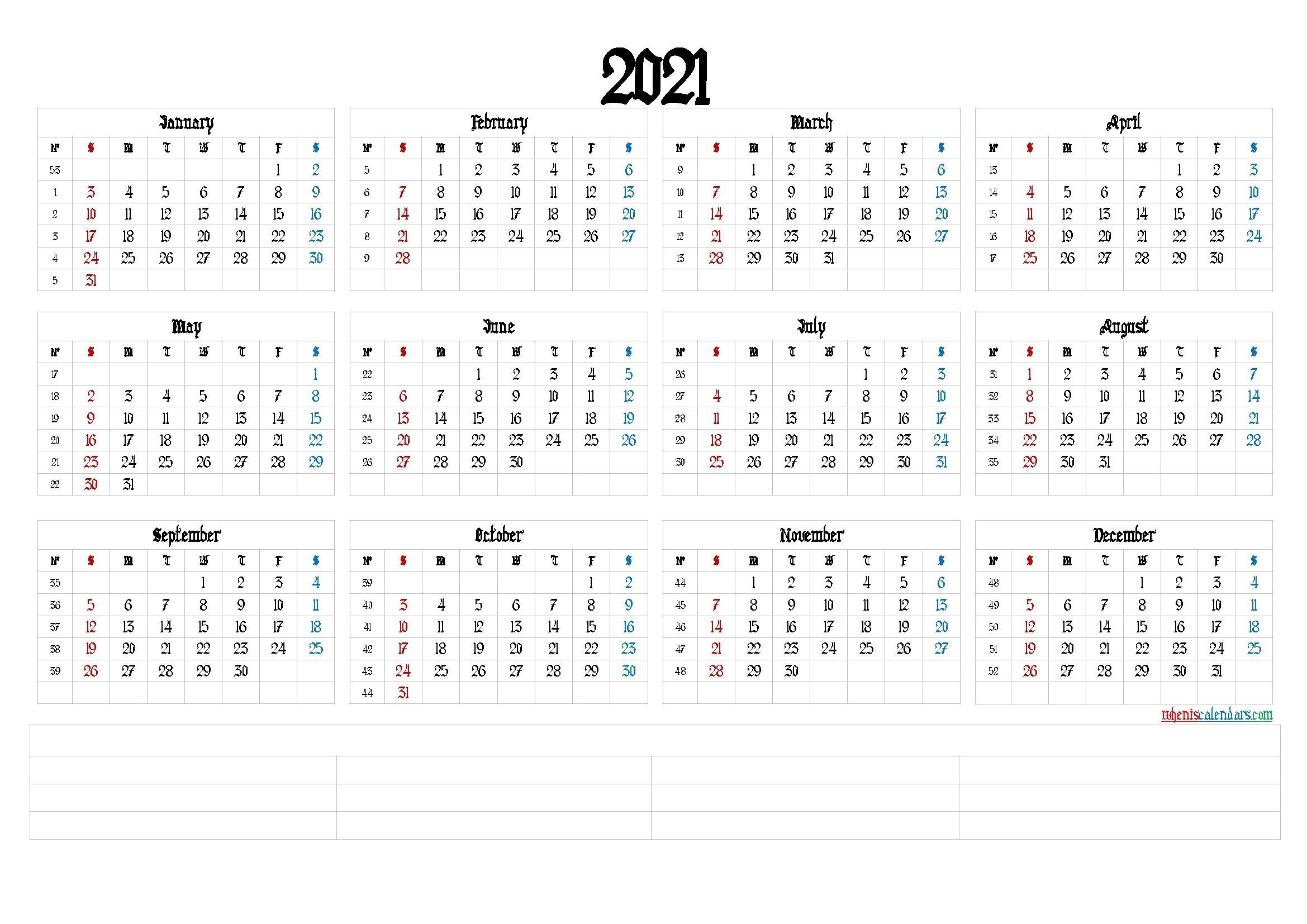 printable 2021 calendar with week numbers (6 templates)