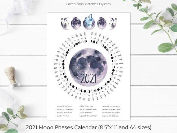 printable 2021 moon phases calendar 2021 lunar calendar