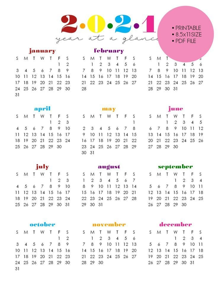 Printable 2021 Year At A Glance 8 5×11 Wall | Etsy In 2021