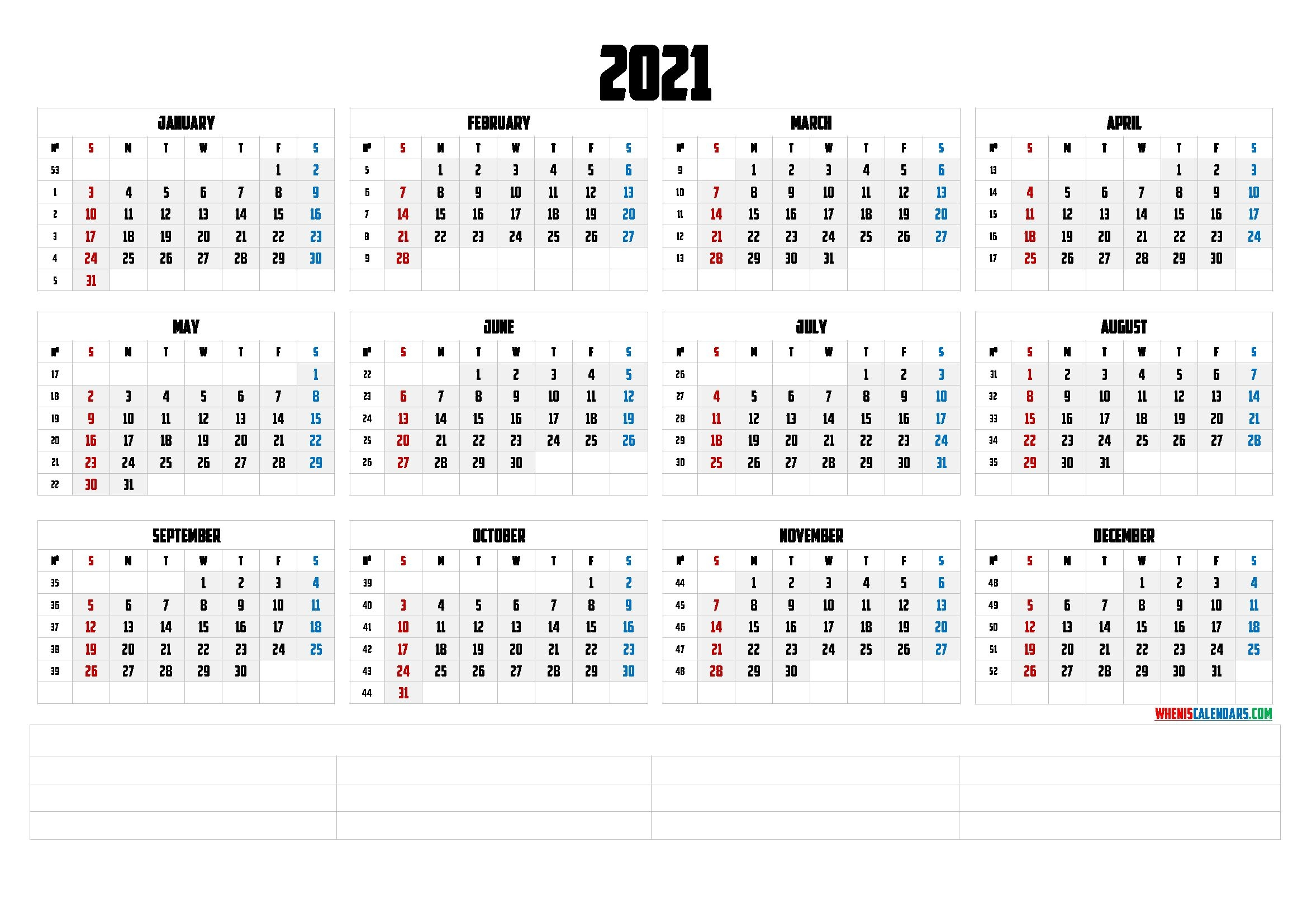 printable 2021 yearly calendar (6 templates) free
