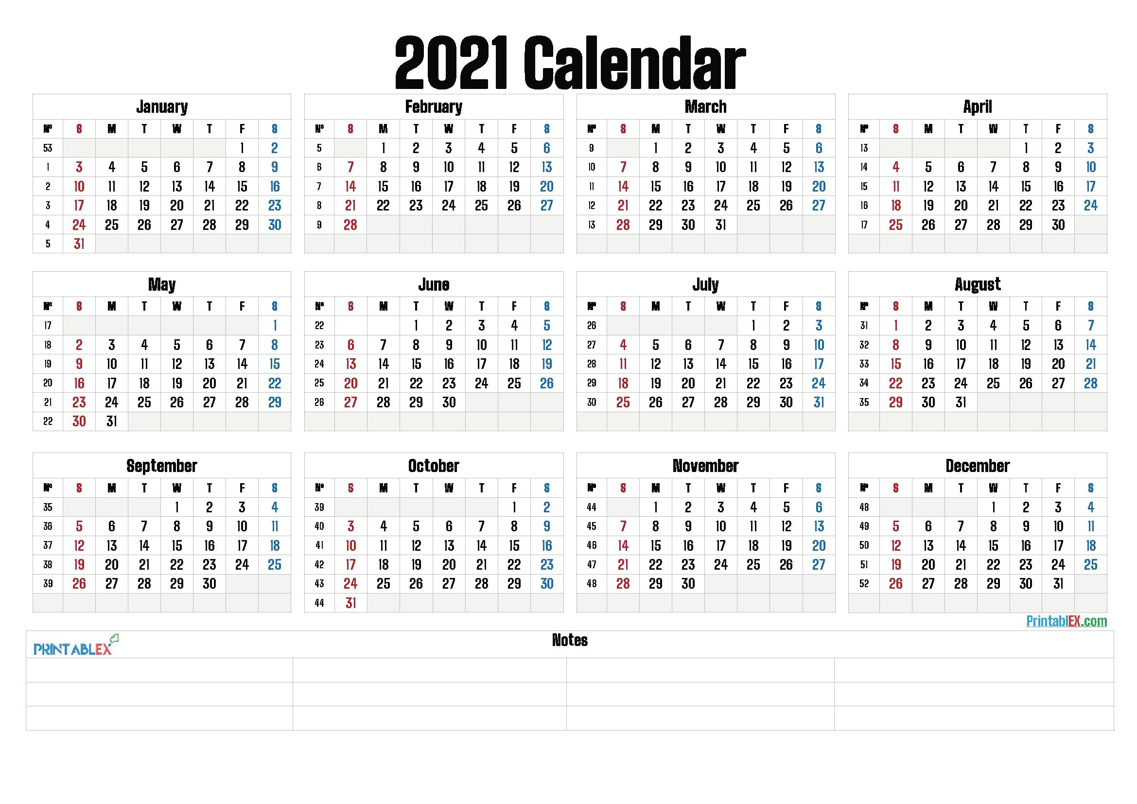 Printable 2021 Yearly Calendar With Week Numbers 21ytw161