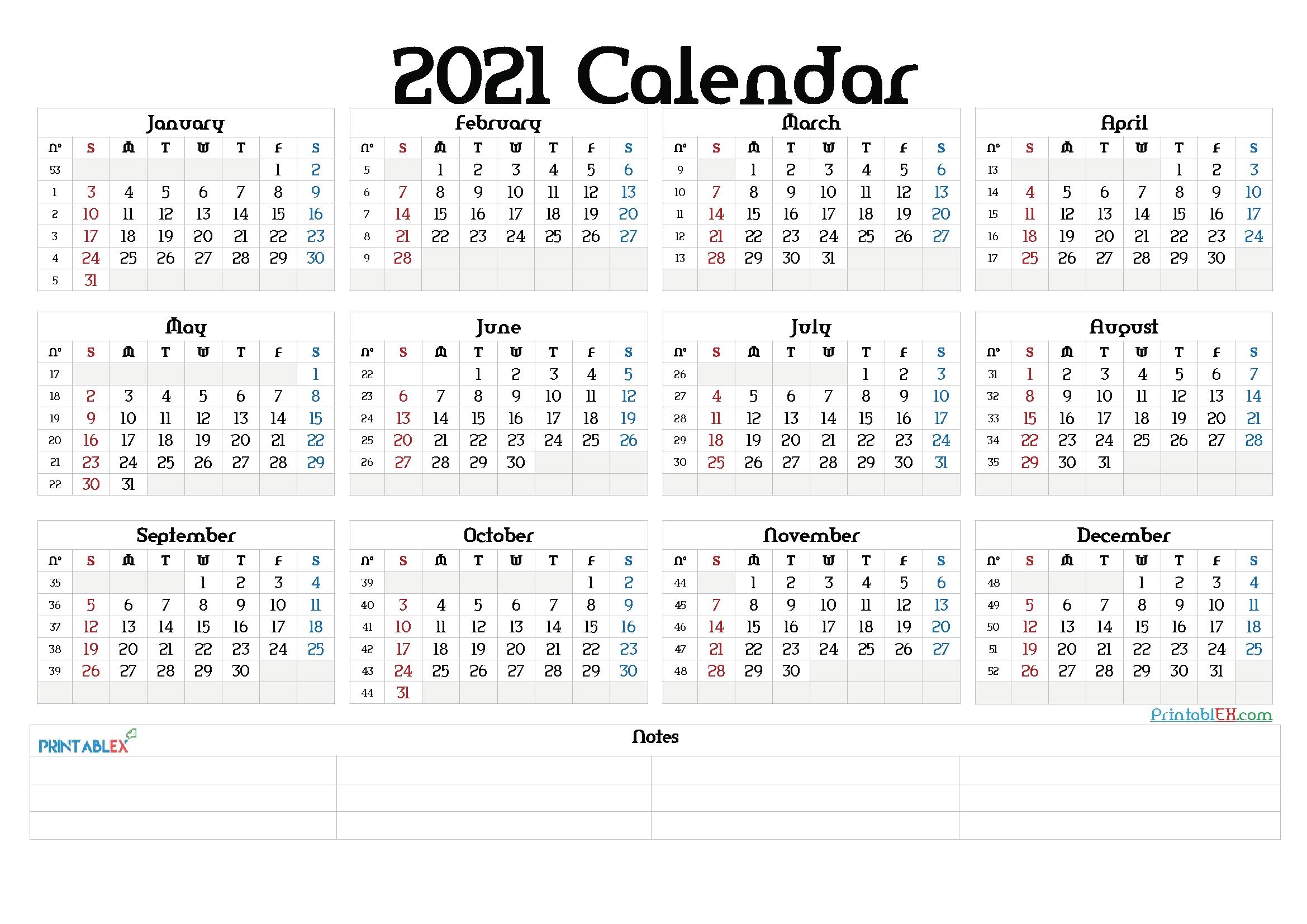 printable 2021 yearly calendar with week numbers 21ytw77