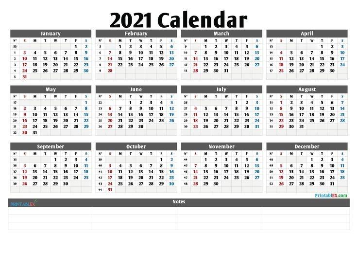 printable 2021 yearly calendar with week numbers 21ytw98