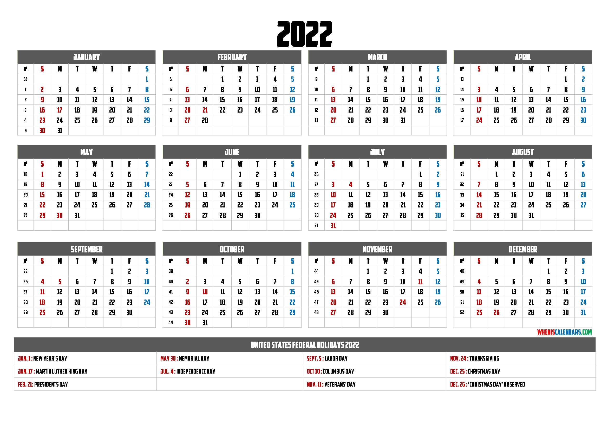 Printable 2022 Yearly Calendar 9 Templates Free 2020