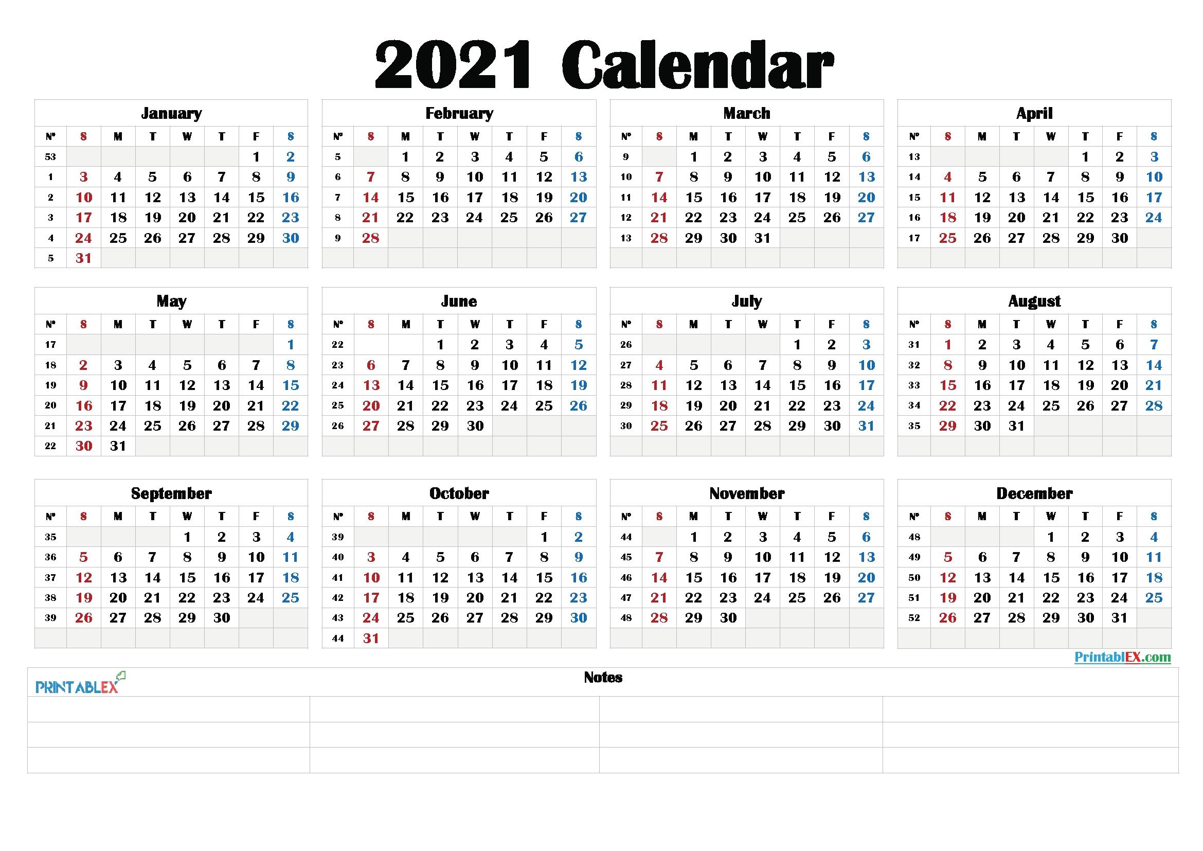 printable 58 2021 calendar / diy mini 2021 photo