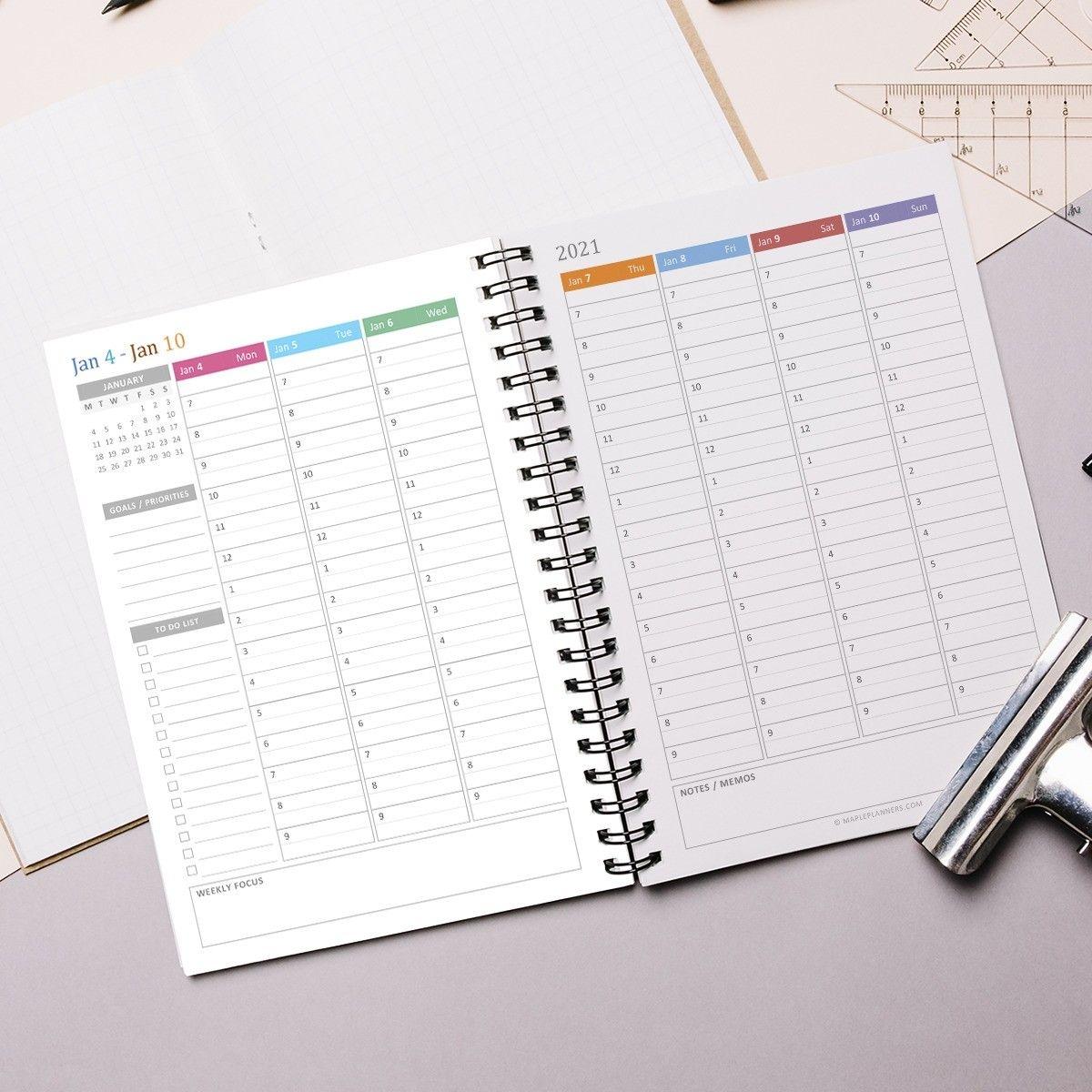 Printable A5 Hourly Weekly Planner 2021 | Vertical Weekly