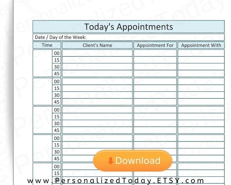 printable appointment planner 8 hours 15 minute increments