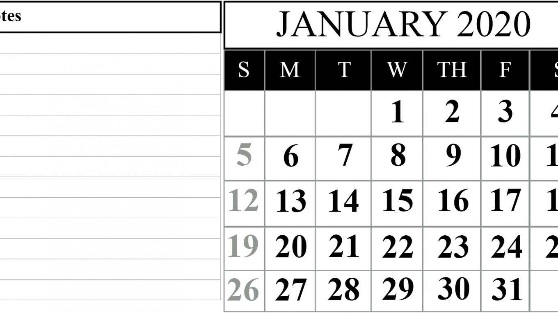 printable calenar for 2020 with space to write calendar