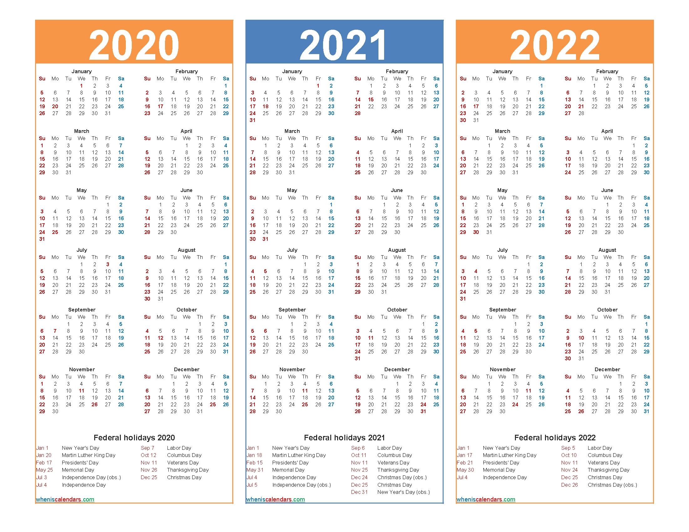 Printable Calendar 2020 2021 2022 With Holidays