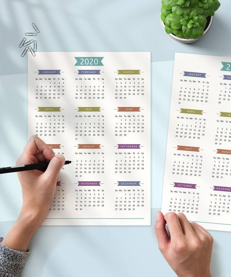 Printable Calendar 2020 2021 Year At A Glance Yearly   Etsy