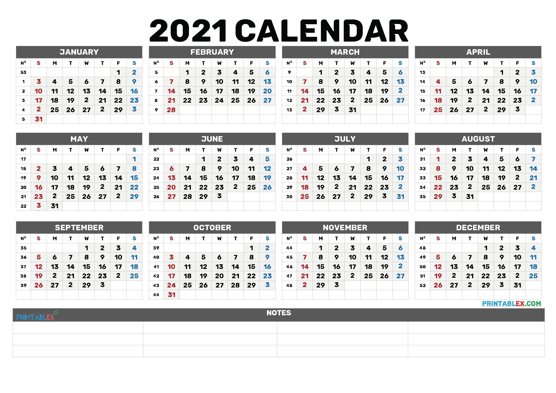 Printable Calendar 2021 Bold   Printable Calendar 2021