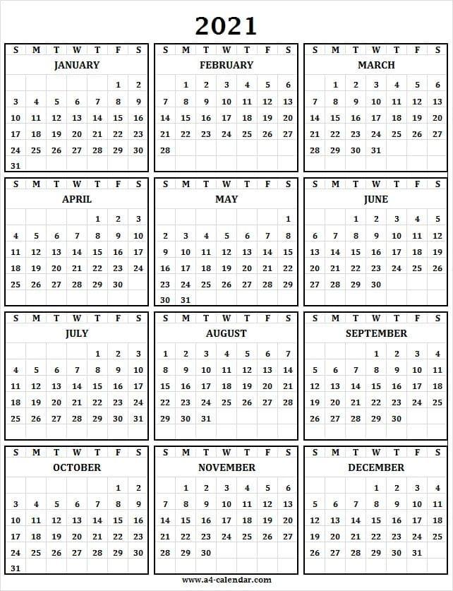 Printable Calendar 2021 One Page A4 Calendar