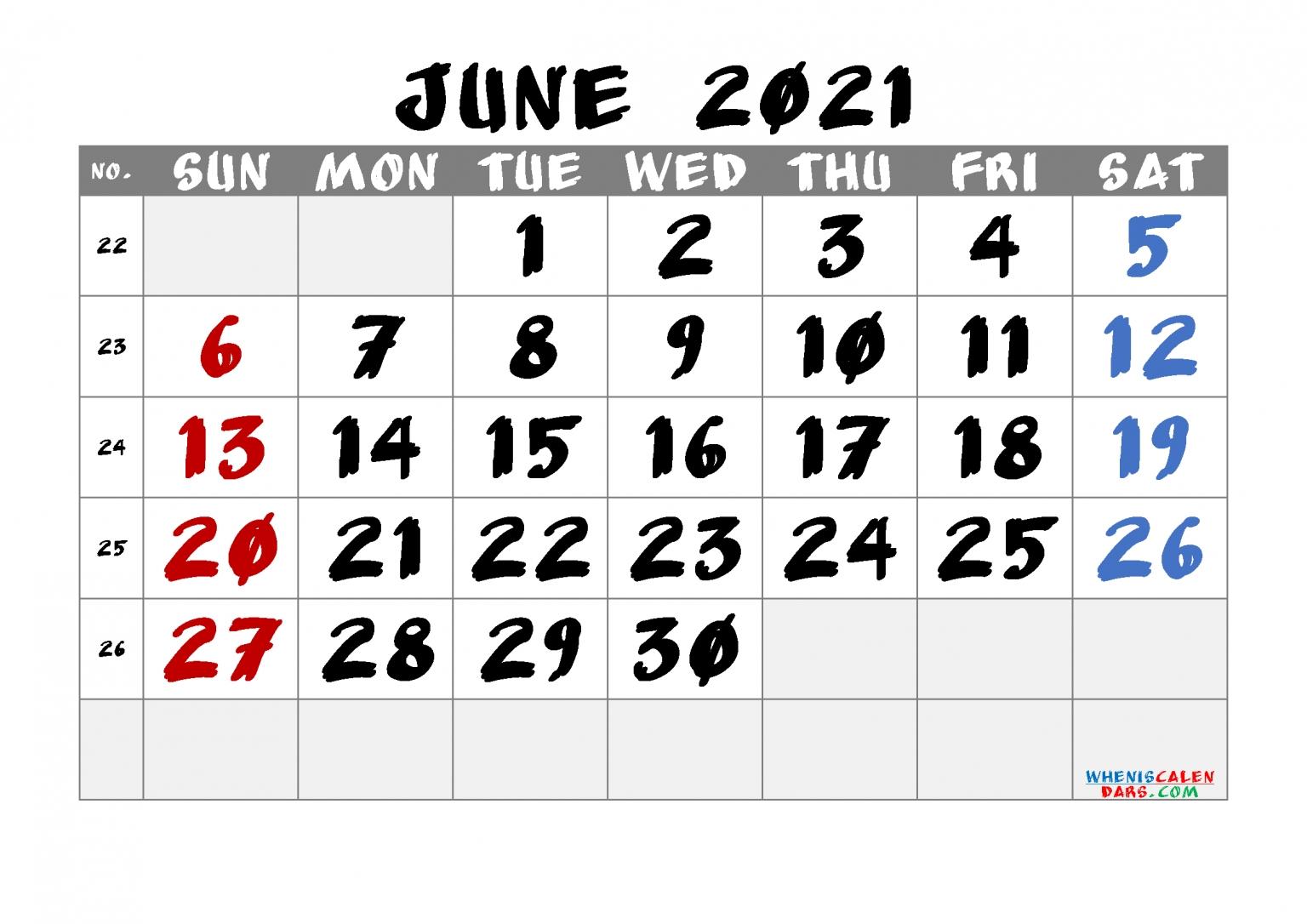 Printable Calendar June 2021 Free 6 Templates