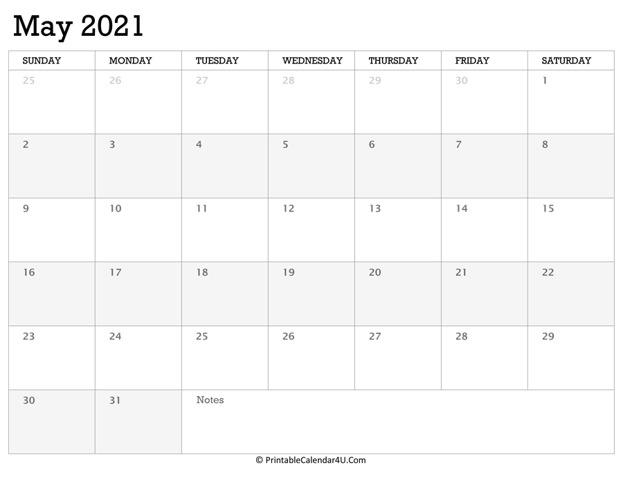 printable calendar may 2021 with holidays