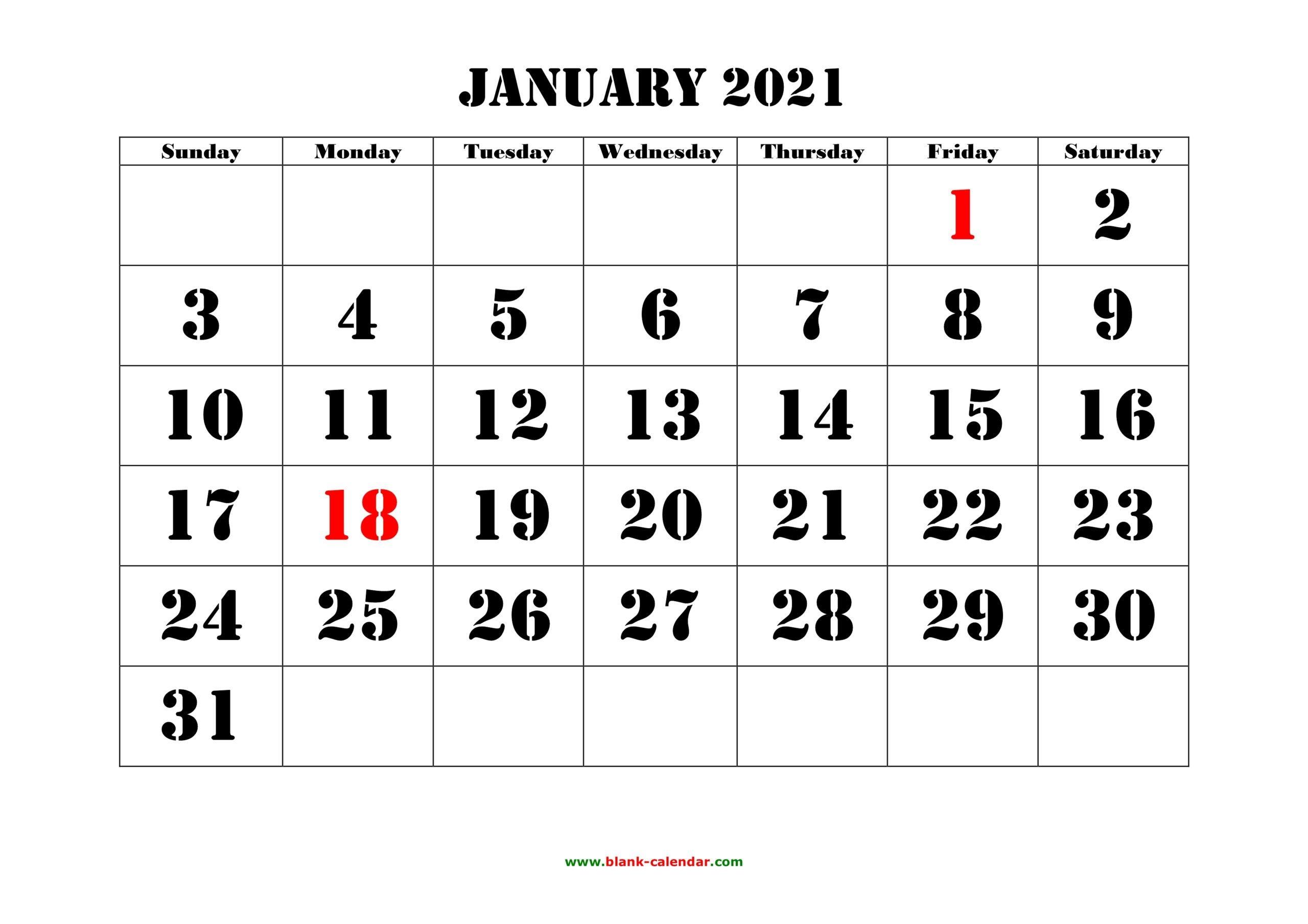 printable calendar with large numbers | calendar