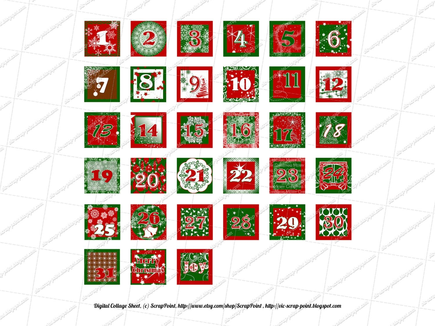 Printable December Daily Numbers 1 1 5 2 & 3 Inch Squares