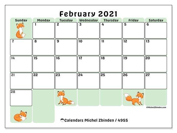 """Printable February 2021 """"49ss"""" Calendar Michel Zbinden En"""
