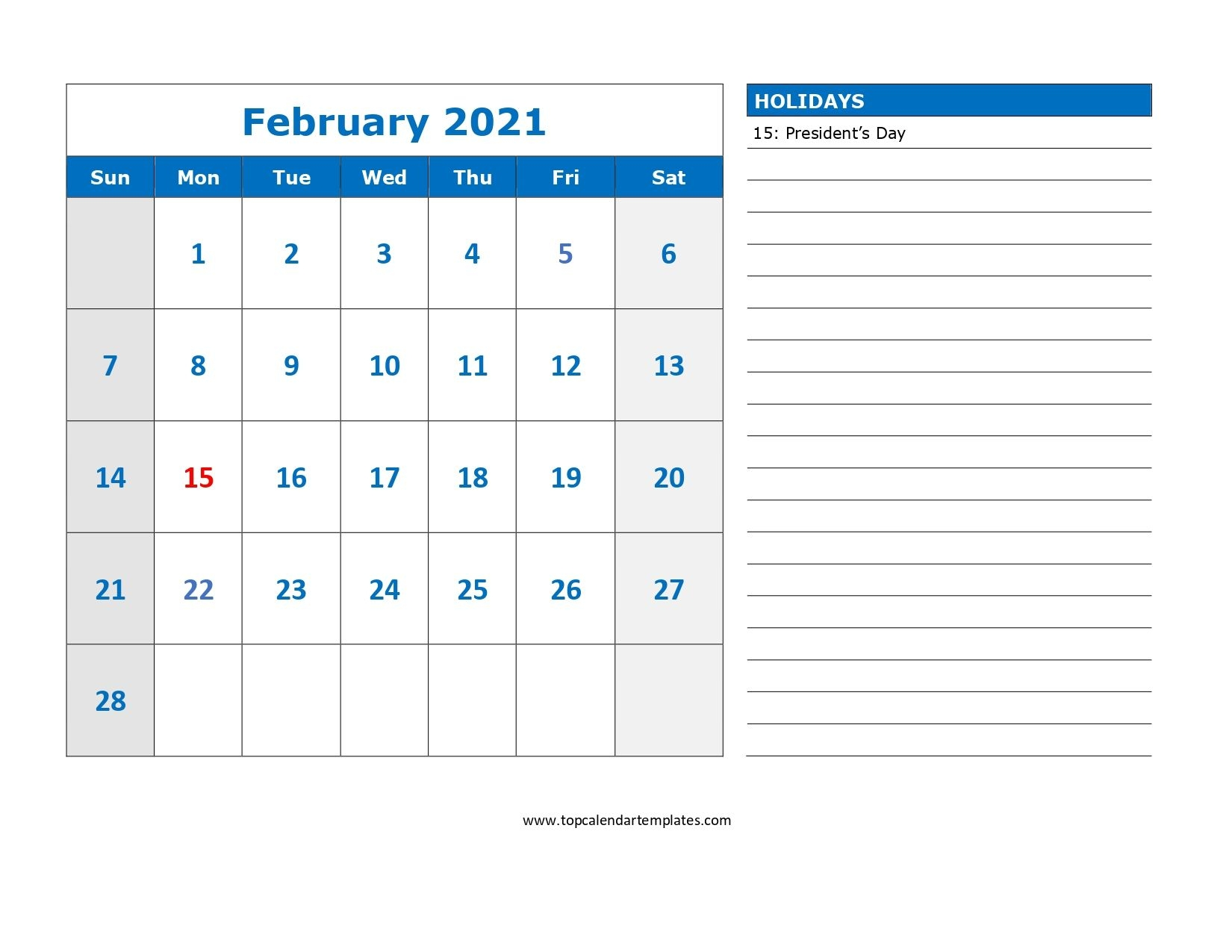 printable february 2021 calendar template download now