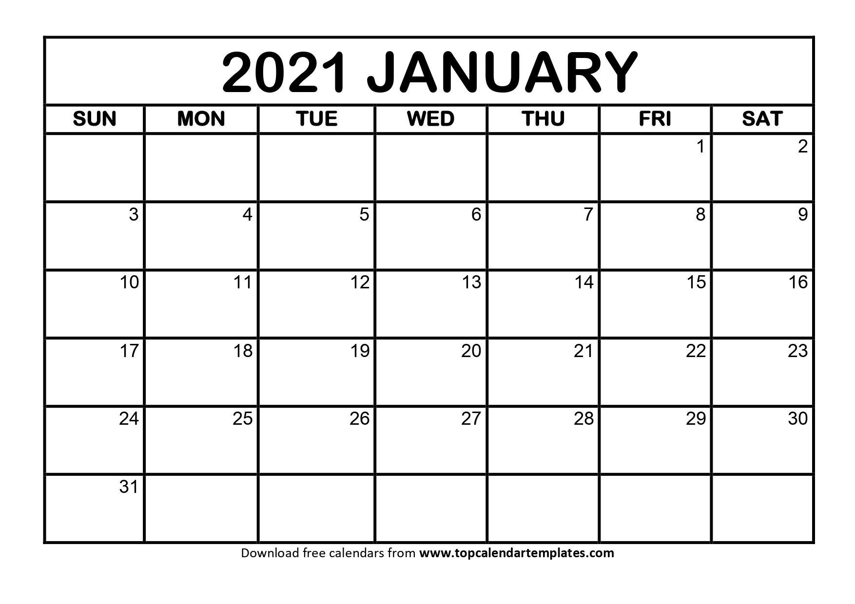 Printable January 2021 Calendar Template Download Now