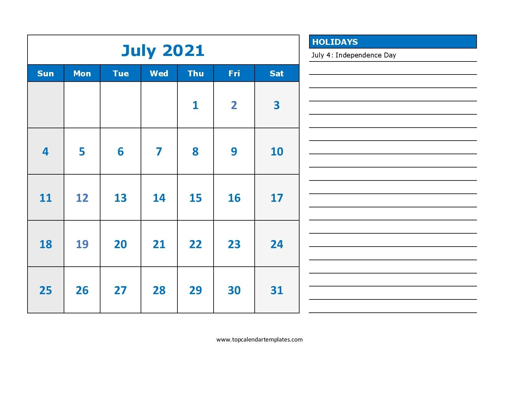 printable july 2021 calendar template pdf, word, excel