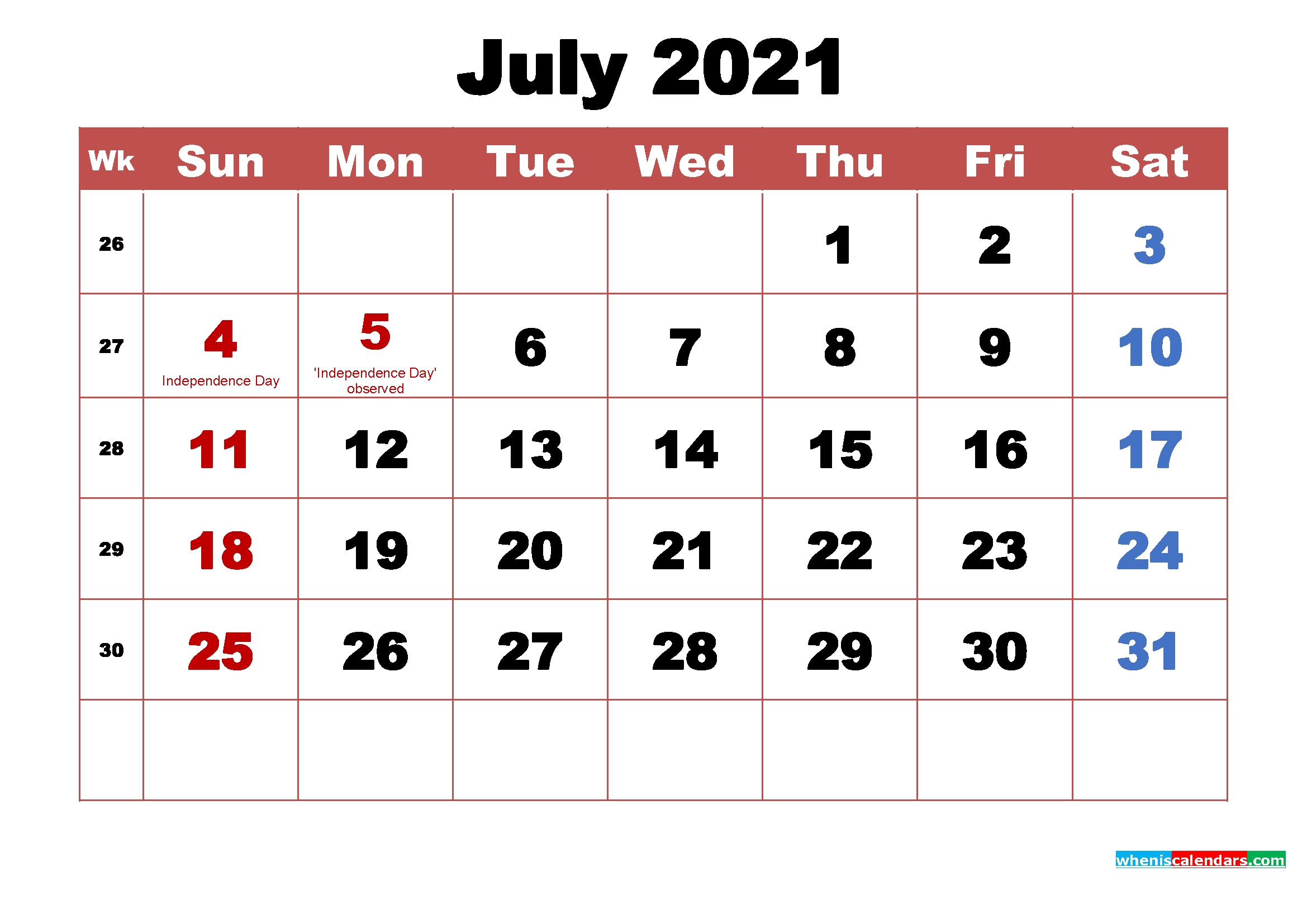 Printable July 2021 Calendar With Holidays Word, Pdf