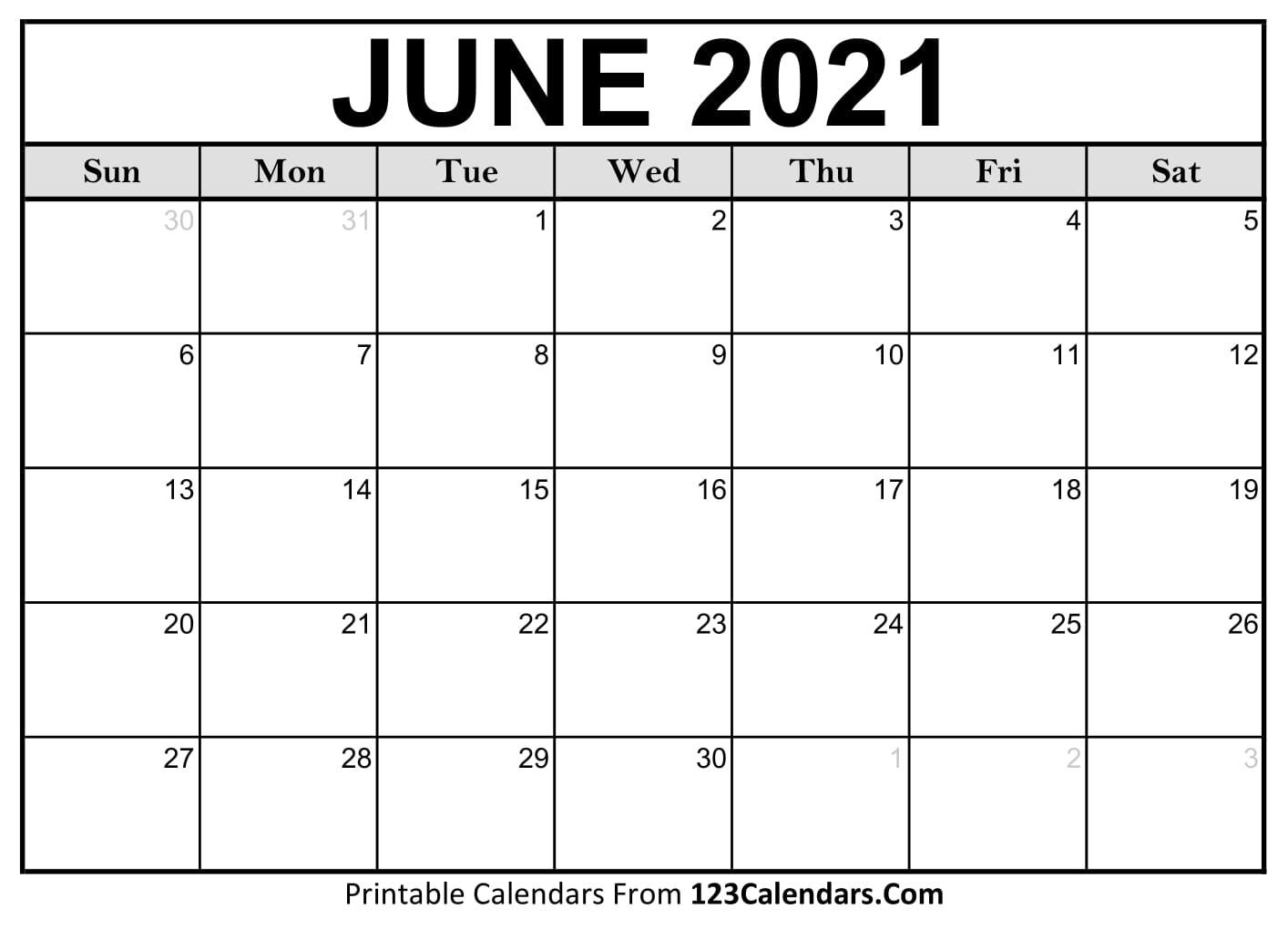 Printable June 2021 Calendar Templates | 123calendars