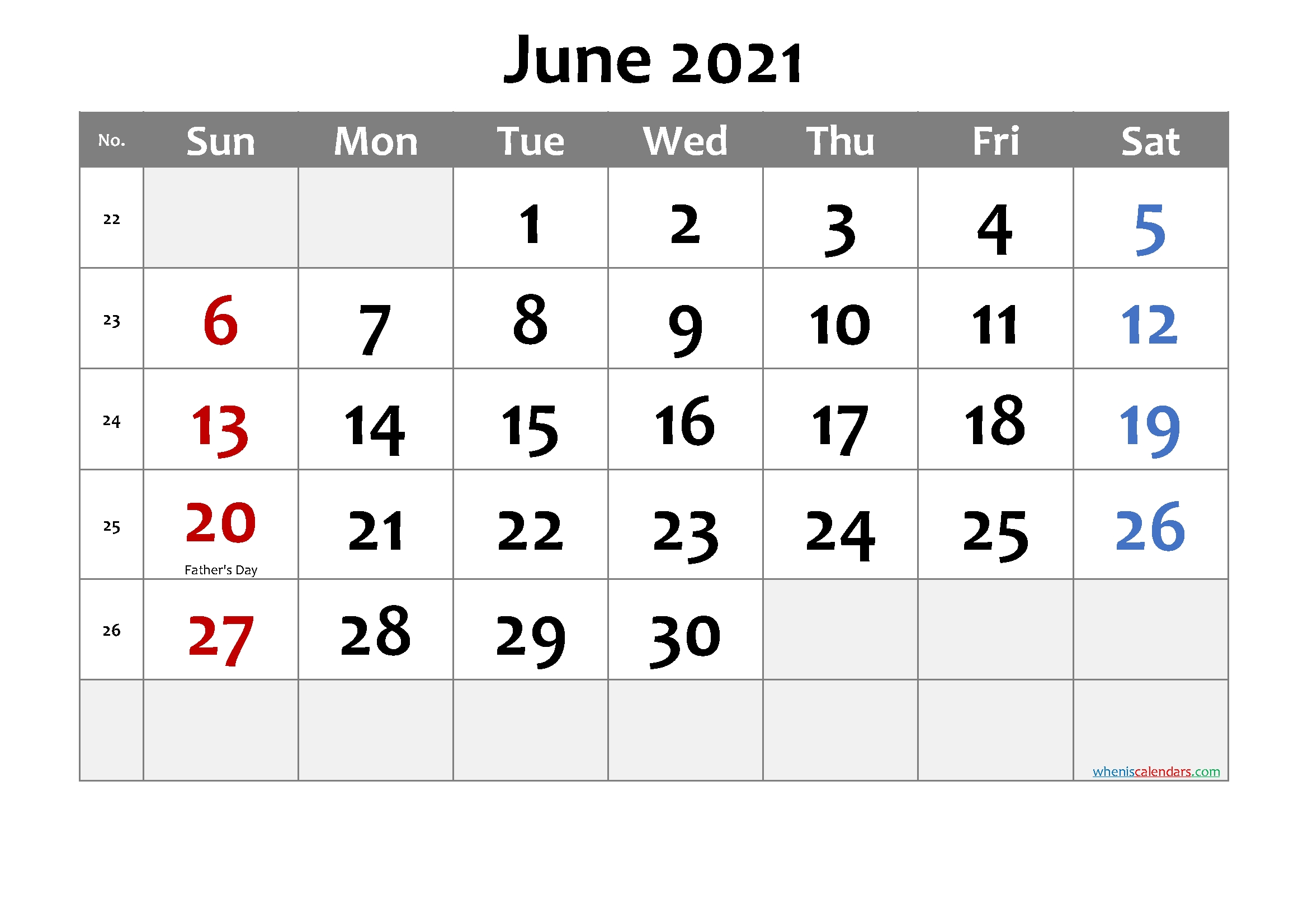 Printable June 2021 Calendar Word Template No Cd21m30