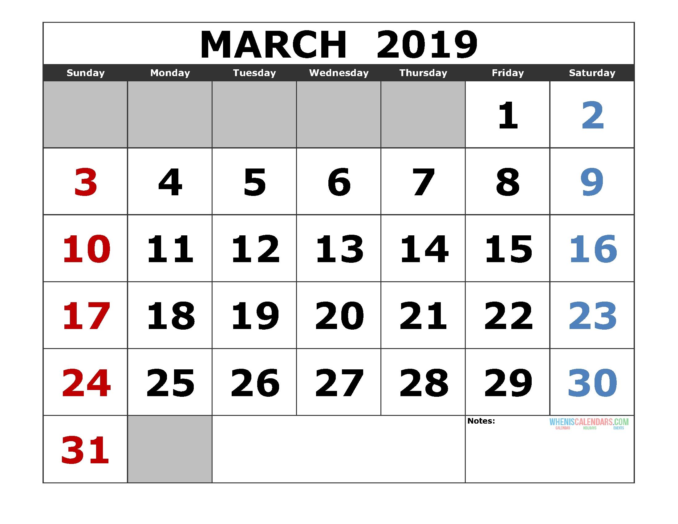 Printable March 2019 Calendar Template, Landscape Format