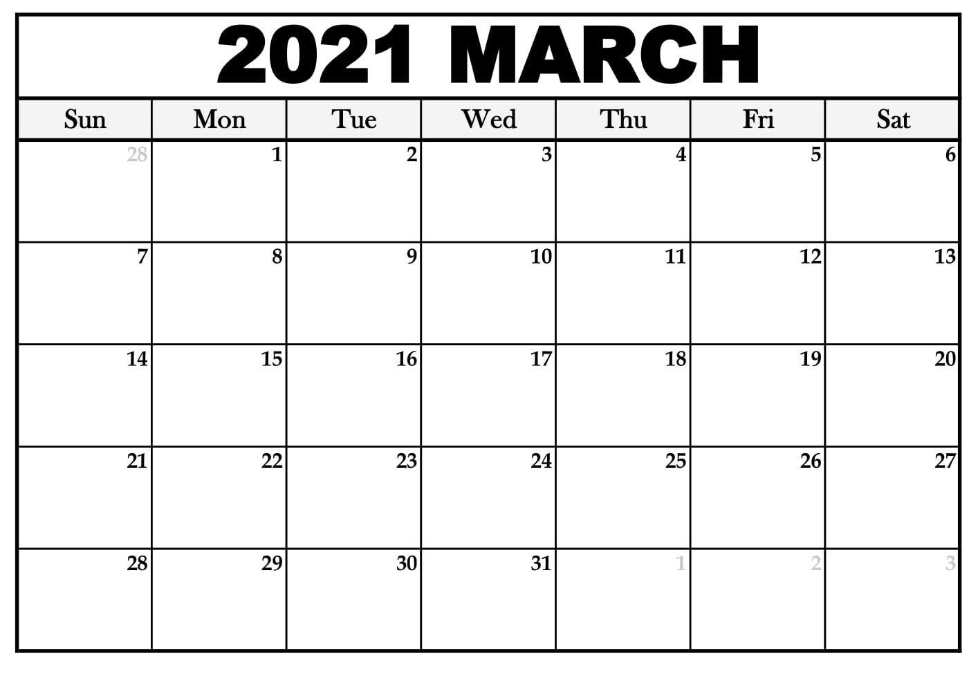 Printable March 2021 Calendar Pdf Thecalendarpedia