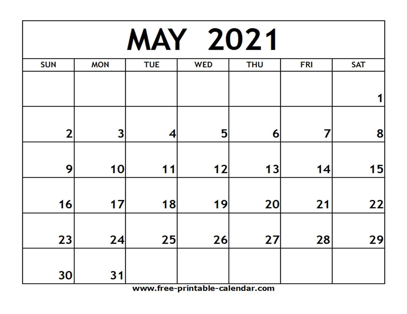 Printable May 2021 Calendar Source | 2021 Calendar