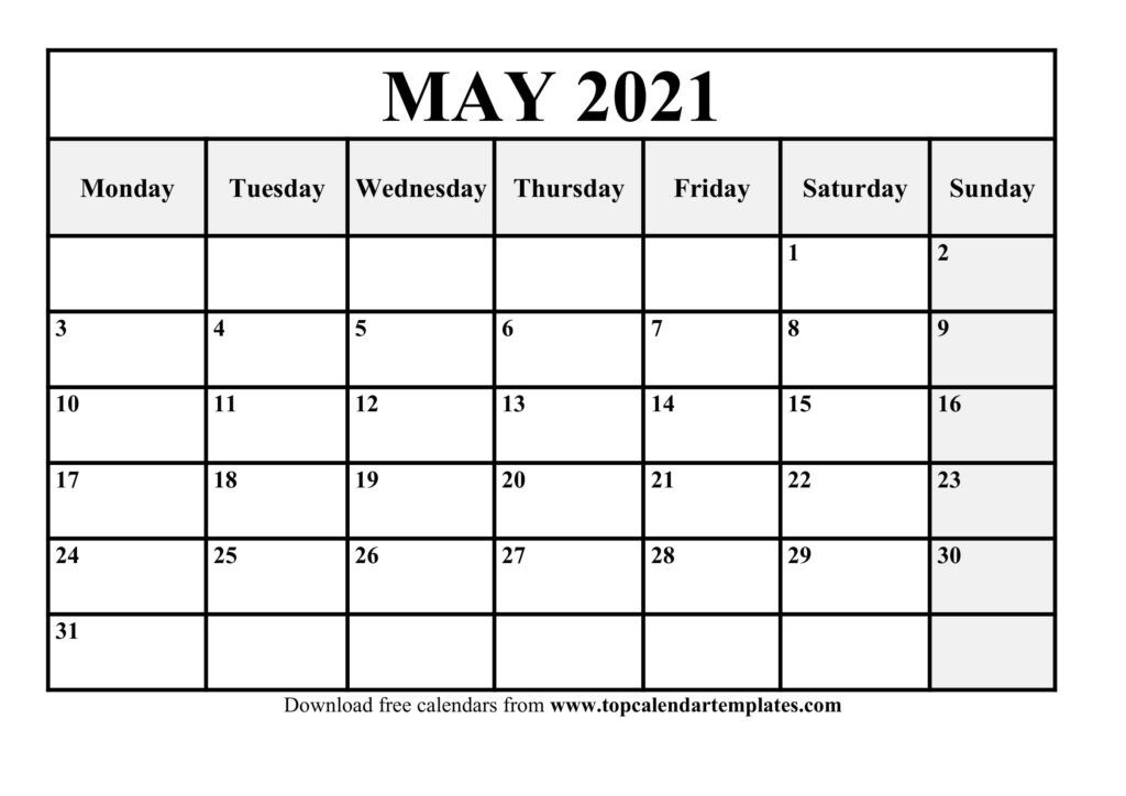 printable may 2021 calendar template pdf, word, excel