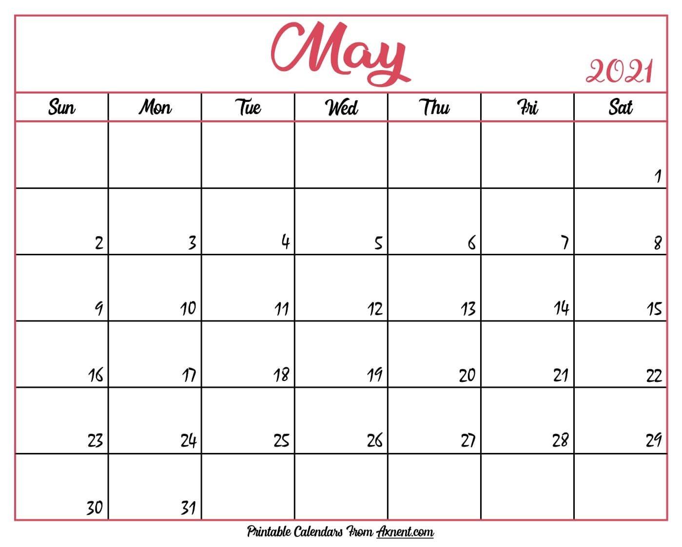 printable may 2021 calendar template print now