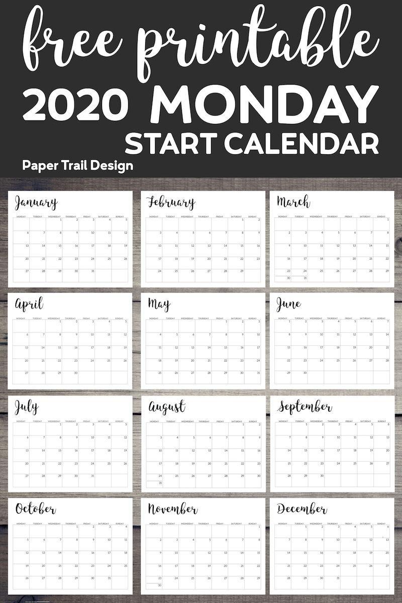 Printable Monday Calendar Monday Start Calendar