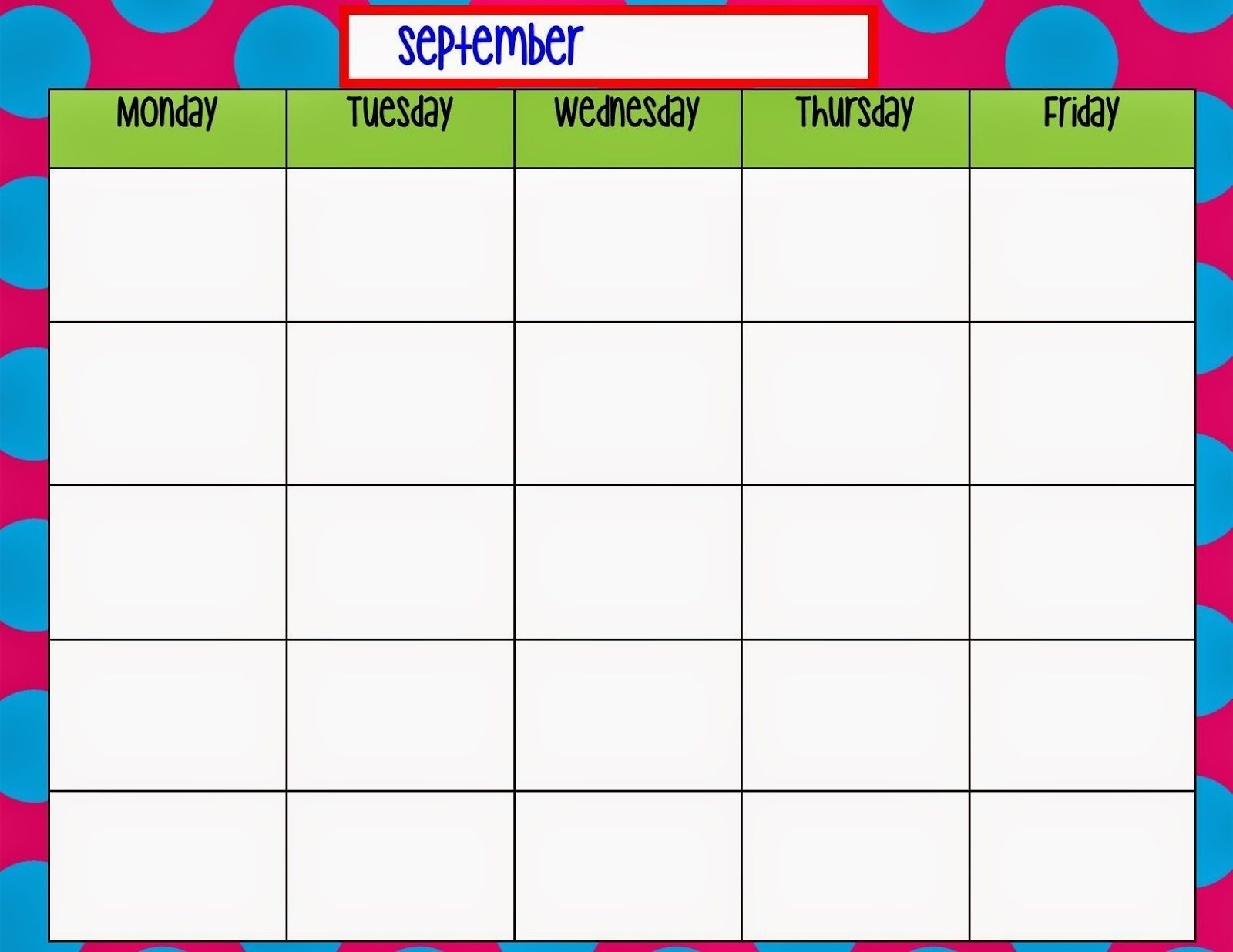 printable monday through friday chart calendar