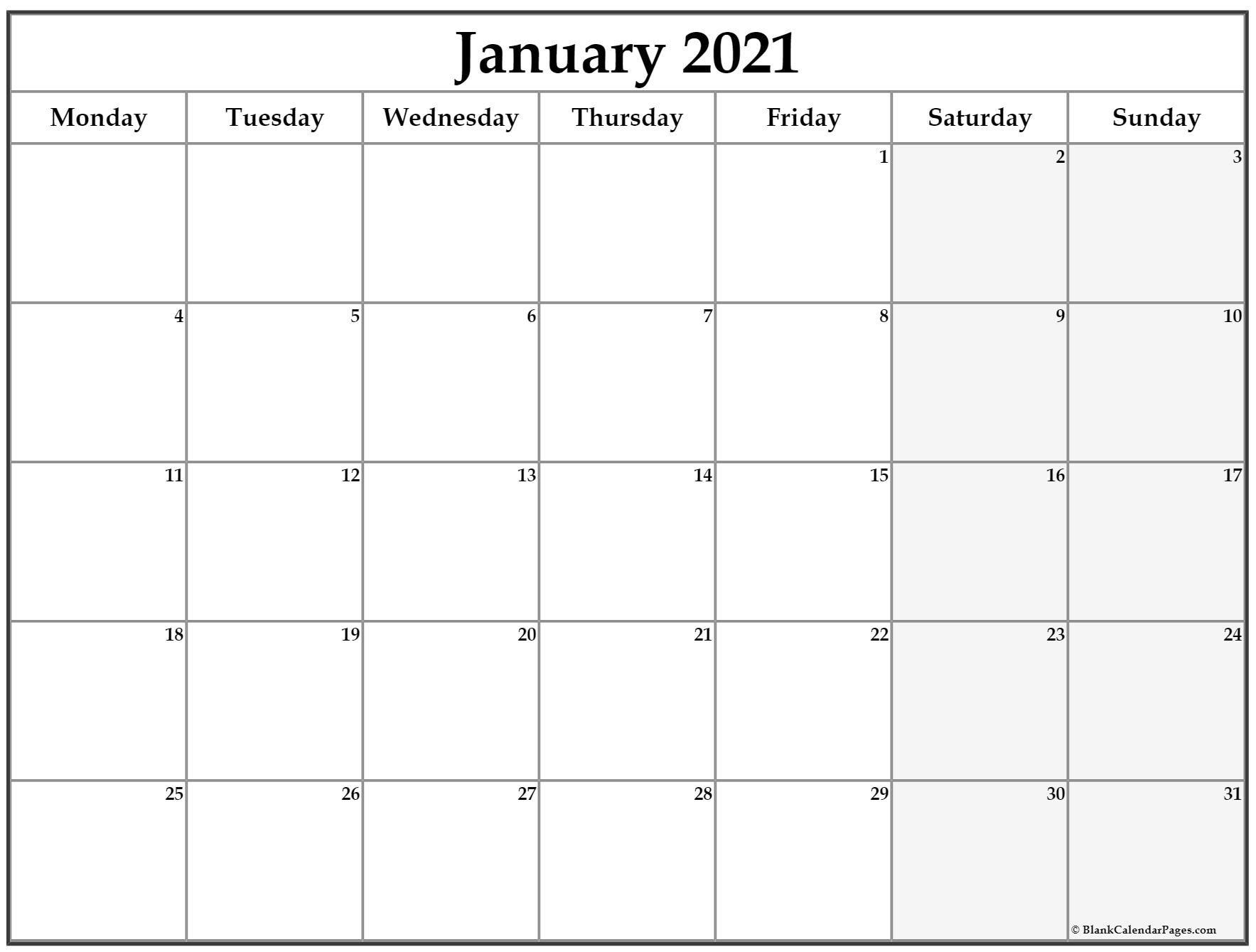 printable monthly calendar 2021 starting monday   free