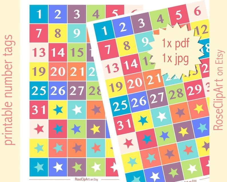 printable numbers 1 31 instant download advent calendar | etsy