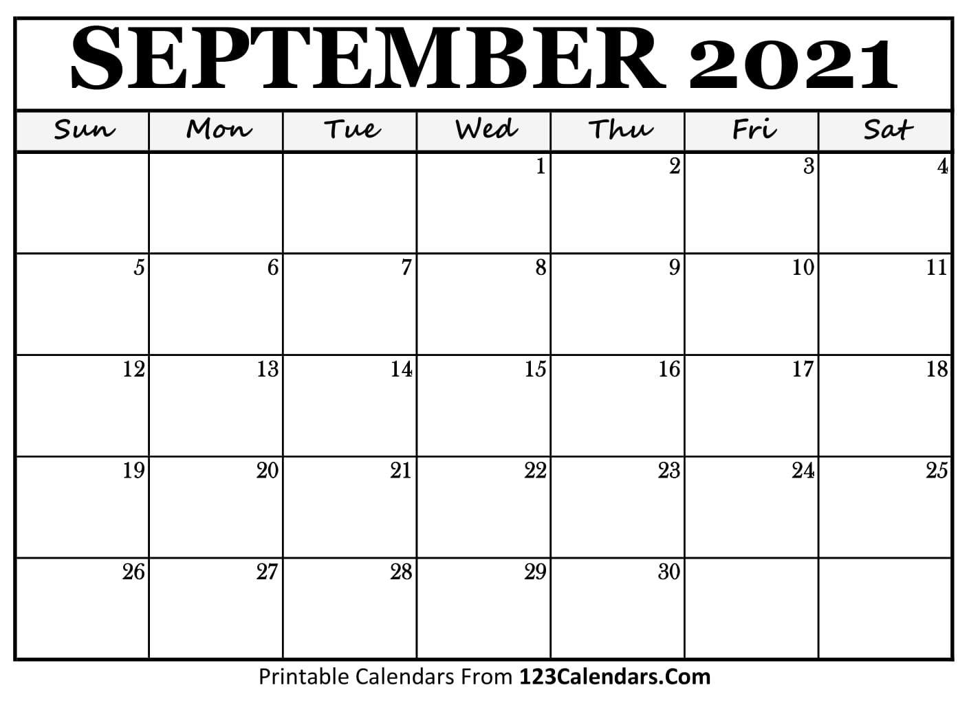 Printable September 2021 Calendar Templates | 123calendars
