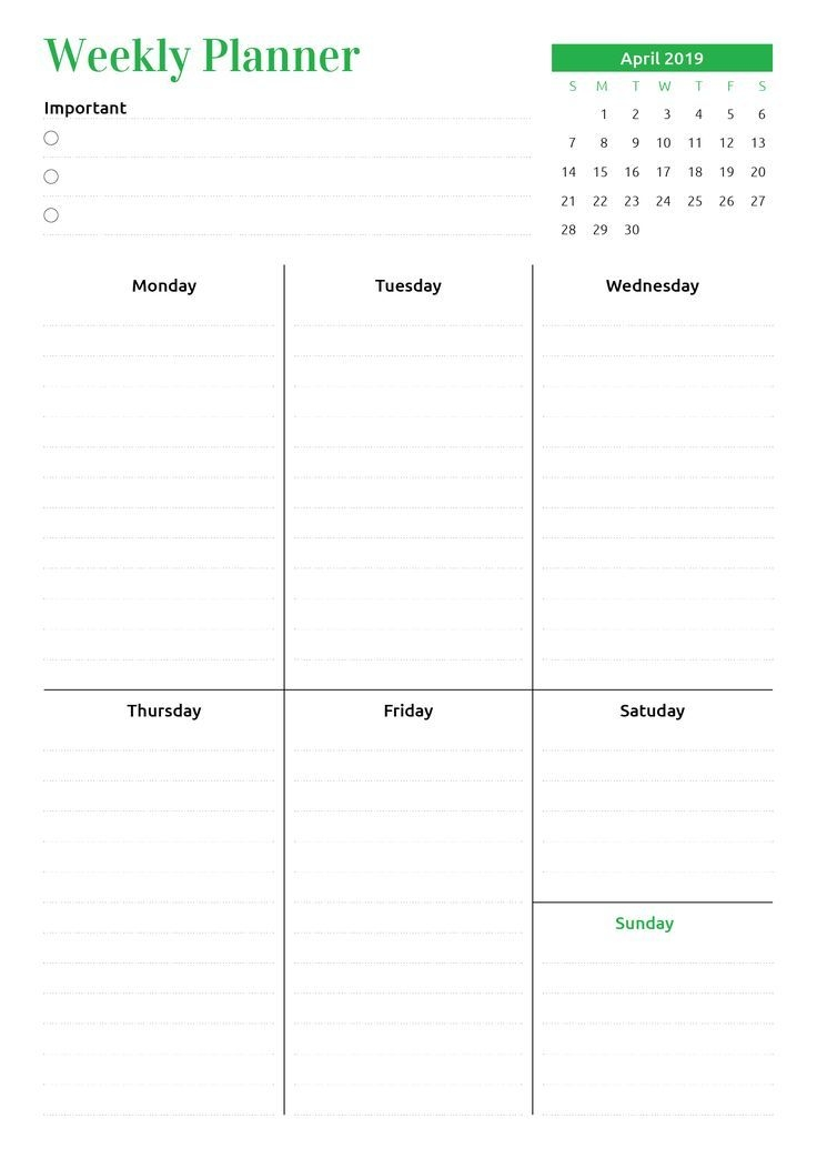 printable week at a glance planner with calendar pdf