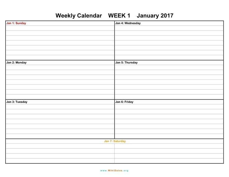 Printable Weekly Calendar 2018 Printable Weekly Calendar