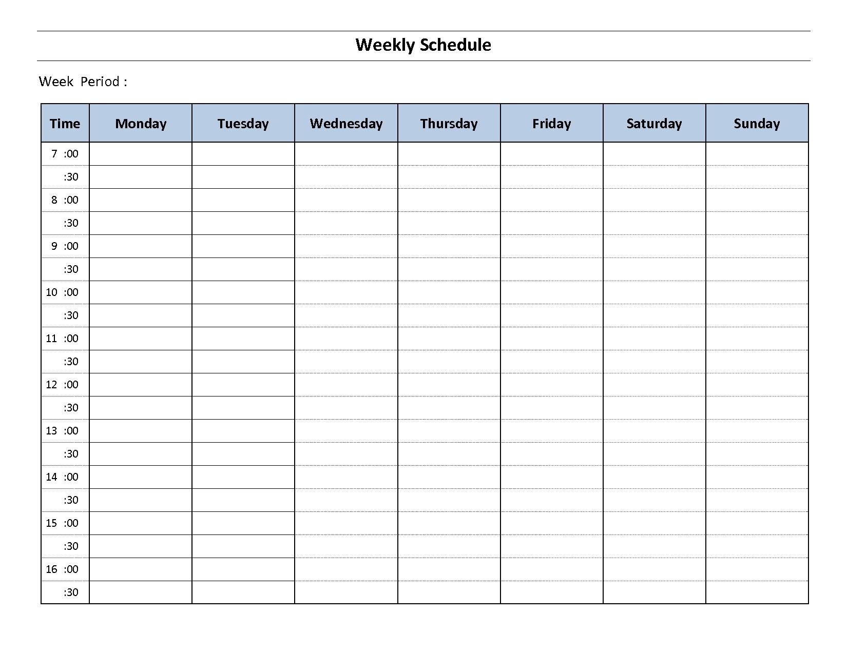 Printable Weekly Calendar Monday To Sunday Template