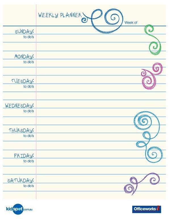 Printable Weekly Planner Calendars | Printable 15 Minute