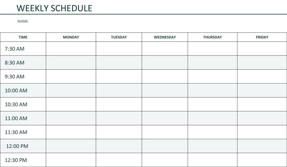 printable weekly schedule monday through friday calendar