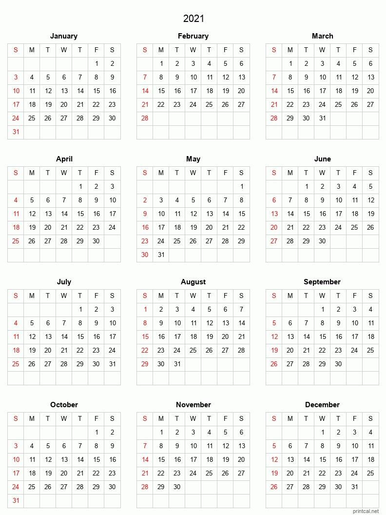 Printable Yearly Calendar 2021, Full Year | Free Printable