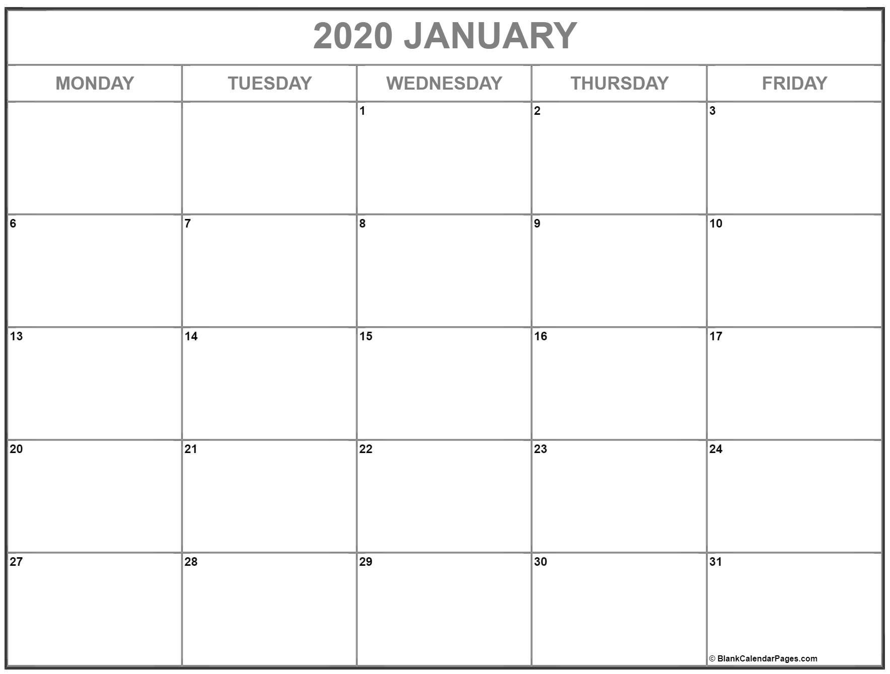 Remarkable Blank Monday To Friday Calendar Template